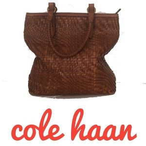 Cole Haan Woven huarache Leather Bucket Tote Bag